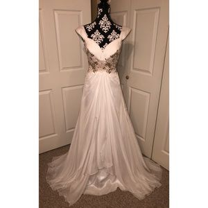 Dresses & Skirts - White Evening Gown with Gold Beading